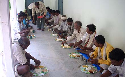 Participants having meals during residential training session at Melghat